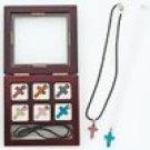 9pc Simulated Semi-Precious Stone Cross Necklace Set