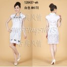 Chinese clothing qipao Embroidered dress gown 120437 white size 30-38 in stock free shipping
