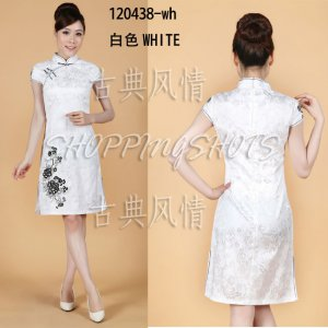 Chinese clothing qipao Embroidered dress gown 120438 white size 30-38 in stock free shipping