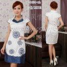 chinese cheongsam womens asian gown cotton qipao dress 120454 white size 30-38