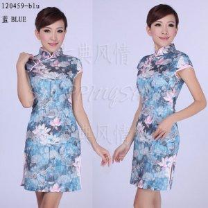 chinese cheongsam womens gown contton qipao dress 120459 blue gray size 30-38