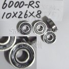 100 pcs 6000-2RS RS Deep Groove Ball Bearing Quality 10x26x8 10*26*8 mm 6000RS