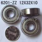 (50pcs) 6201 ZZ Deep Groove Ball Bearing 12x32x10 bearings 12*32*10 mm 6201Z 6201ZZ  free shipping