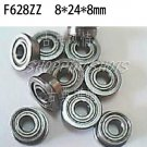 10pcs F628ZZ 8x24x8 Flanged 8*24*8 mm F628Z Miniature Ball Radial Bearing F628 ZZ free shipping