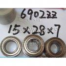 100pcs) 6902-2Z ZZ Deep Groove Ball Bearing 15x28x7 bearings 15*28*7 mm 6902Z 6902ZZ  free shipping