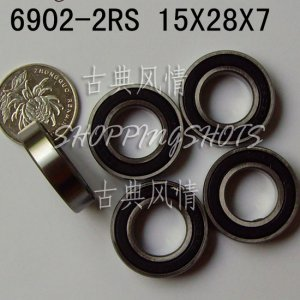 1 pcs 6902-2RS 6902 RS bearings Ball Bearing 6902RS 15*28*7 15X28X7 mm ABEC1  free shipping