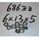 (10) 686 ZZ Miniature Bearings ball Mini bearing 6x13x5 mm 6*13*5 686ZZ 686Z 2Z  free shipping