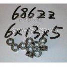 (100pcs) 686 ZZ Miniature Bearings ball Mini bearing 6x13x5 mm 6*13*5 686ZZ 686Z 2Z  free shipping