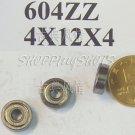 1pc 604 2Z ZZ Miniature Bearings ball Mini bearing 4x12x4 4*12*4 mm 604ZZ balls free shipping