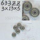 10pcs 633 ZZ Miniature Bearings ball Mini bearing 3x13x5 3*13*5 mm 633ZZ 2Z  free shipping