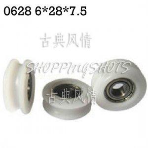5pcs 6mm U Groove Plastic pulley bearings 0.236 inch ugroove 6*28*7.5 mm bearing  free shipping