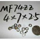 1pc MF74ZZ 4x7x2.5 Flanged 4*7*2.5 mm MF74Z Miniature Ball Radial Bearing MF74 Z  free shipping