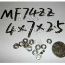 10pcs MF74ZZ 4x7x2.5 Flanged 4*7*2.5 mm MF74Z Miniature Ball Radial Bearing MF74 Z  free shipping