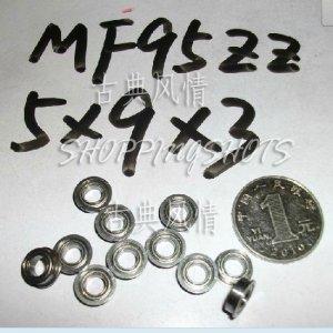 10pcs) MF95 5X9X3 Flanged 5*9*3 mm bearings Miniature Ball Radial Bearing MF95ZZ  free shipping
