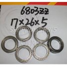 100pc thin 6803-2Z bearings Ball Bearing 6803Z 17X26X5 17*26*5 mm 6803ZZ ABEC1 ZZ  free shipping
