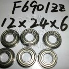 10pcs F6901 12x24x6 Flanged 12*24*6 mm F6901Z Miniature bearings Bearing F6901ZZ free shipping