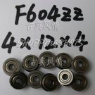 10pc F604ZZ 4x12x4 Flanged 4*12*4 mm F604Z Miniature Ball Radial Bearing F604 ZZ   free shipping