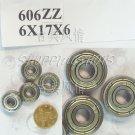 100pcs 606 2Z ZZ Miniature Bearings ball Mini bearing 6x17x6 6*17*6 mm 606ZZ ABCE1  free shipping