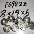 10pc F698ZZ 8x19x6 Flanged 8*19*6 mm F698Z Miniature bearings Bearing F698 ZZ 2Z free shipping