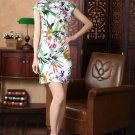 chinese Short sleeve cotton printing dress qipao Cheongsam 140419 size 30-38