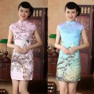 chinese Short sleeve The Magpies cotton printing dress qipao Cheongsam 140423