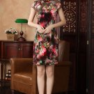 chinese Short sleeve Velvet printing dress qipao Cheongsam 140432 size 30-38