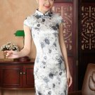 chinese Short sleeve silk printing dress qipao Cheongsam 140431 size 30-38