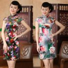 chinese Short sleeve Velvet printing dress qipao Cheongsam 140430 size 30-38