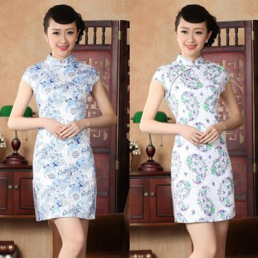Chinese clothing Asian short Printing clothes cotton dress qipao 140427 gown