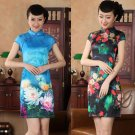 Chinese clothing Asian short Printing clothes silk-like dress qipao 140429 gown