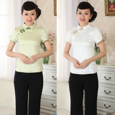chinese jacket Cotton printing short sleeve Top blouse size 30-38 clothing