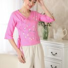 chinese jacket Cotton printing short sleeve Top blouse size 30-40 clothes 140903