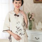 chinese jacket Cotton printing short sleeve Top blouse size 30-40 beige 140904