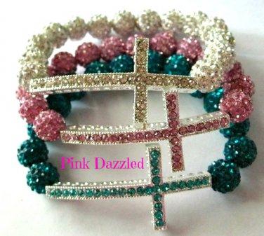 Pave Crystal Cross Bling Bracelet Hip Hop Jewelry