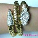 Crystal Encrusted Gold Coiled Snake Mesh Bracelet