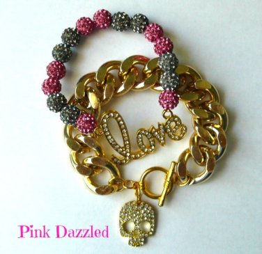 """Crazy in Love"" Set Chunky Chain and Pave Crystal Arm Candy Set"