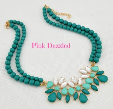Double Beaded Mint Chain Faux Stone Pendant Fashion Necklace