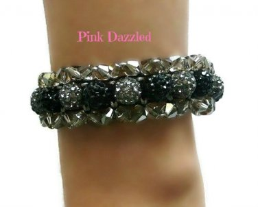 Grey and Black Pave Crystal Bling Shamballa Style Bracelet