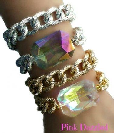 Double Chain Wrap Chunky Crystal Dazzling Bracelet