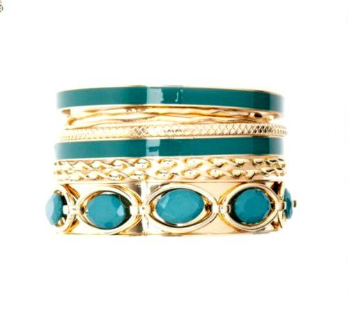 Green and Gold Faceted Stone & Enamel Bangle Set