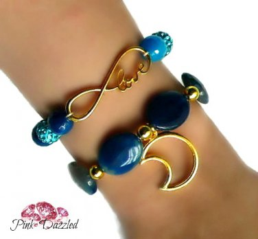 """""""Love You To The Moon and Back"""" Agate Bracelet Set"""