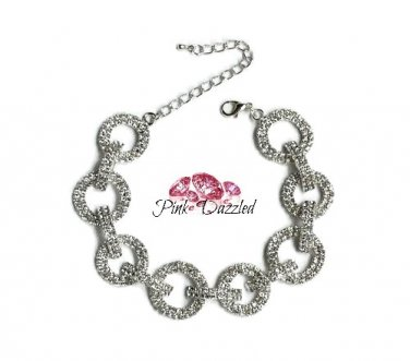 Pave Austrian Crystal Round Chain Link Bracelet