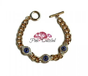 Evil Eye Gold Chunky Chain Bracelet