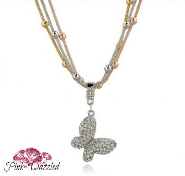 Tri Color Triple Bead Chain Crystal Butterfly Pendant Necklace