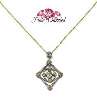 Two Tone Diamond Shape Cubic Zirconia Pendant Necklace