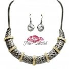 Two Tone Crystal Studded Station Necklace Set