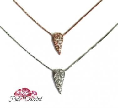 Pave Cubic Zirconia Sterling Silver Angel Wing Pendant Necklace