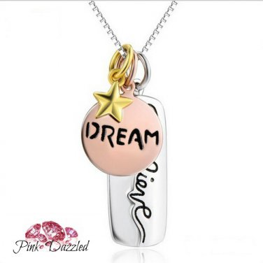 Tri-Tone Dream and Believe Charm Sterling Silver Necklace