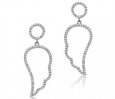 Pave Cubic Zirconia Angel Wing Sterling Silver Earrings