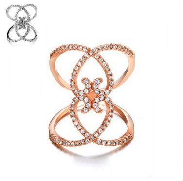 Pave Cubic Zirconia Double Hearts Ring